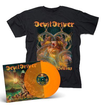 DEVILDRIVER - Dealing With Demons I / ORANGE LP + T-Shirt Bundle