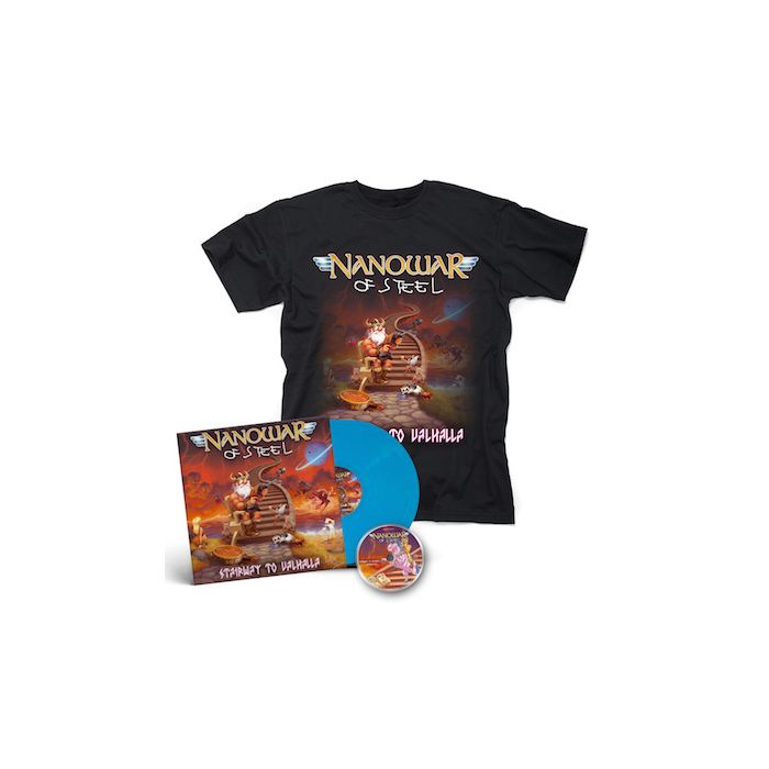 NANOWAR OF STEEL - Stairway to Valhalla / SKY BLUE 2LP + T-Shirt Bundle