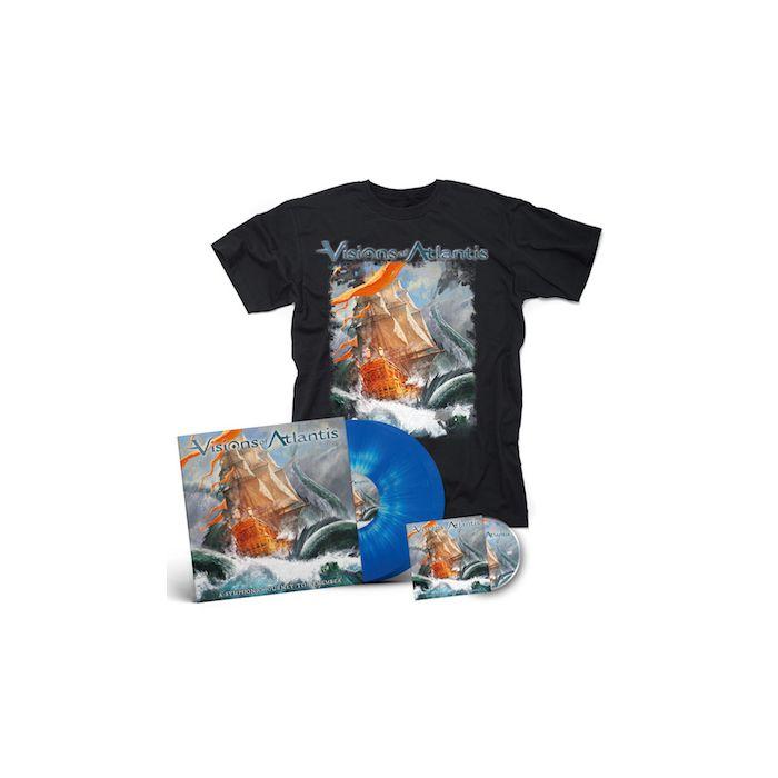 VISIONS OF ATLANTIS - A Symphonic Journey To Remember / LIMITED EDITION Blue+White Splatter 2LP + DVD + T-Shirt Bundle