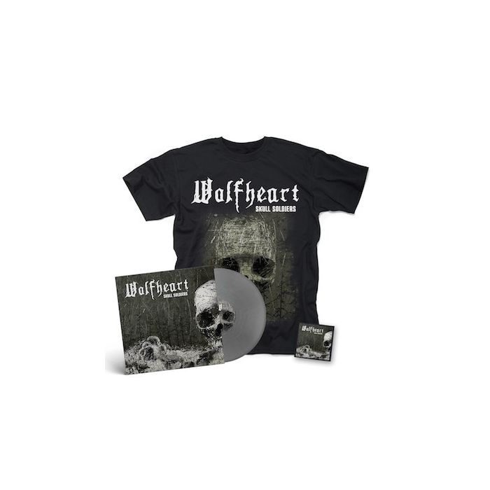 WOLFHEART - Skull Soldiers / SILVER LP + PATCH + T-Shirt BUNDLE