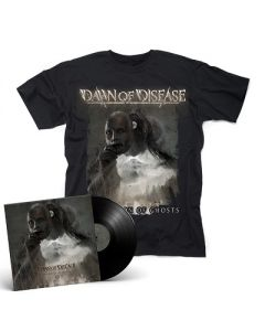 DAWN OF DISEASE-Processions of Ghosts/Limited Edition BLACK Vinyl Gatefold 2LP + T-Shirt Bundle