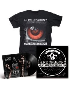LIFE OF AGONY-A Place Where There's No More Pain/Limited Edition BLACK Gatefold LP + T-Shirt + Autographed Screen Printed Poster Bundle